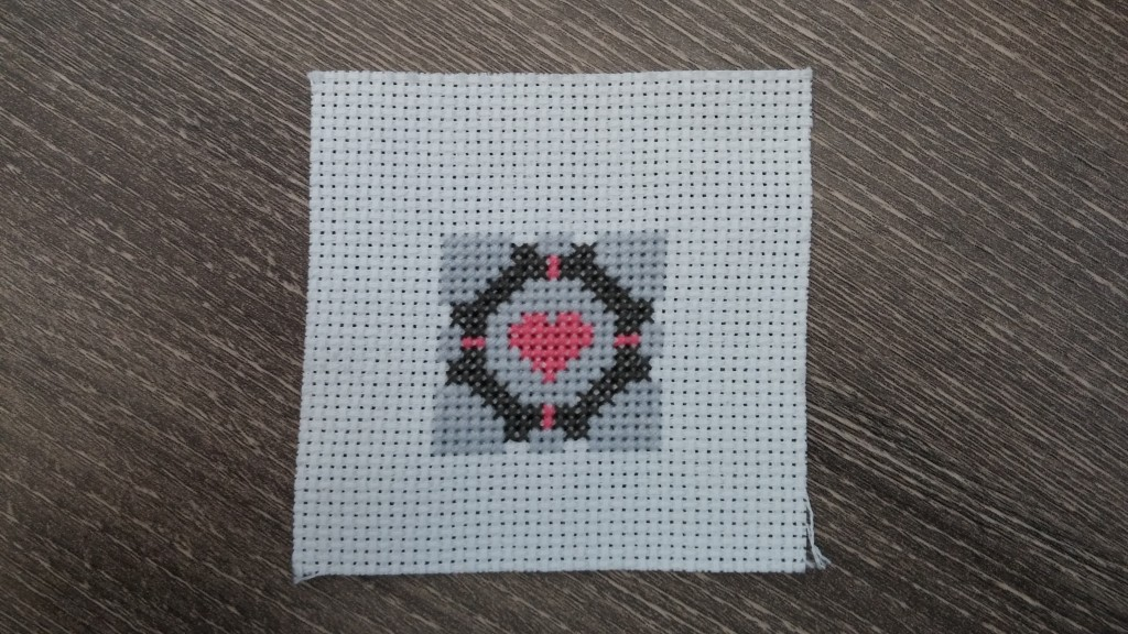 Portal Companion Cube Cross Stitch